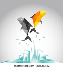 Fish jumping above the sea with vector polygon design