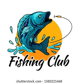 fish jumping for bait hook with sun background and splash water vector illustration for fisherman club fishing tournament logo badge template design