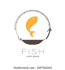 Fish jumping in Fishing rod and pan frame circle shape, logo icon set design illustration isolated on white background with Fish text and copy space