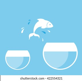 fish jumping from glass aquarium, on blue background