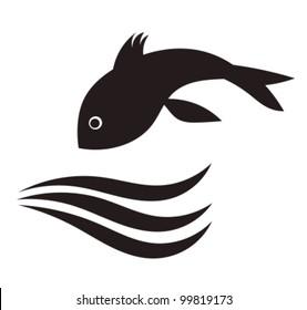Fish jumping in water. Vector illustration
