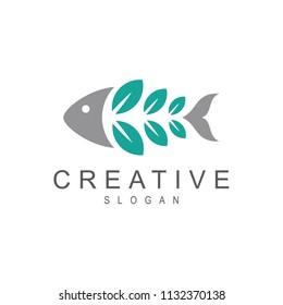 Fish + Leaf Logo, Green Fish Logo, healthy Food, Fresh Fish