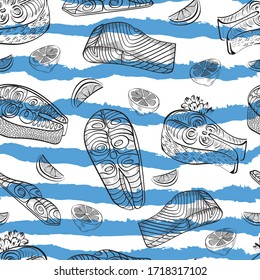 Fish, limon food vector seamless pattern on white background. Concept  for wallpaper, wrapping paper, menu, cards