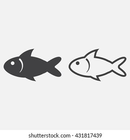 fish line icon, outline and solid vector sign, linear pictogram isolated on white, logo illustration