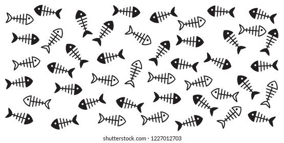 Fish line pattern. Flat vector sea, ocean or water animal sign. fishing symbol. Fishbones, fishbone print. Swims underwater. Fish skeleton bone icon. Seamless doodle. Cat food. World water day.