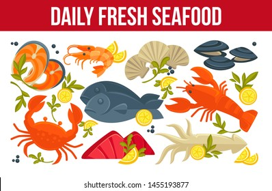 Fish and lobster daily fresh seafood crab and prawn or shrimp vector squid and salmon oysters and mollusks lemon slices and greenery, restaurant or cafe menu dishes and meals of underwater sea animals