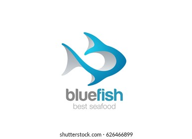 Fish Logo 3D abstract design vector template.