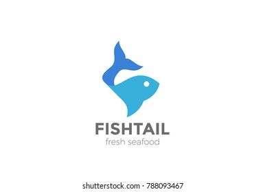 Fish Logo abstract design vector template. Seafood shop store restaurant Logotype concept icon.