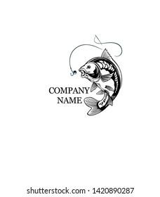 Fish Logo, Fish carp and fishing logo vector image, Vector Illustration