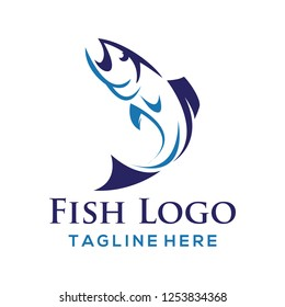 Fish logo design. Creative vector symbol of fishing
