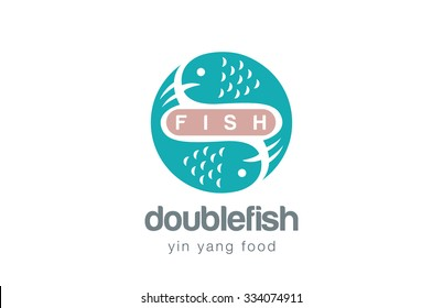 Fish Logo design vector template. Yin Yang style. Seafood Logotype concept icon.