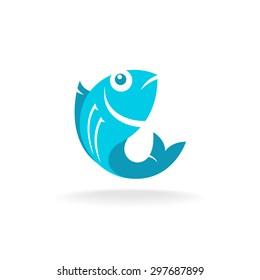 Fish logo. Flat blue colors.