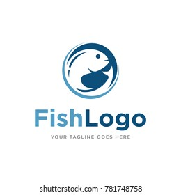 fish logo icon vector template