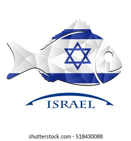 fish logo made from the flag of Israel.