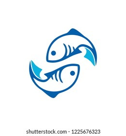 fish logo seafood badge design vector inspiration