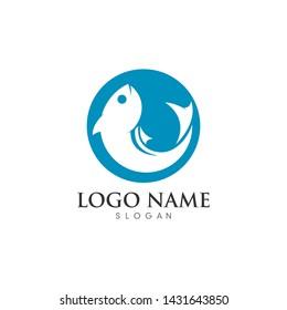 Fish logo template. Creative symbol of fishing club or online