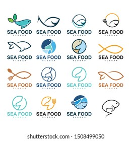fish logo template, design concept vector, sea food