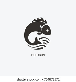 Fish logo template for design. Icon of seafood restaurant. Illustration of graphic flat style