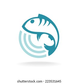 Fish logo template. Round sign.