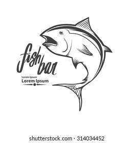 fish logo template, simple illustration, fishing concept, tuna
