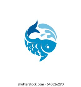 Fish Logo Template. Fish with Water Splashes