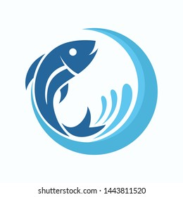 Fish Logo Template. Fish with wave and water Splashes