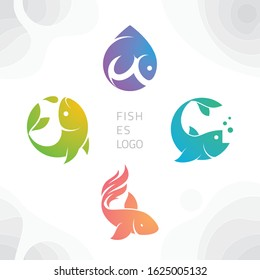 Fish logos pack design vector with gradient on flat style. 4 fishes logo bundle for app, website, tshirt, identity, creative startup and company product.