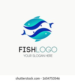 Fish logotype vector for seafood, restaurant food, fresh ocean food market, fishing. Tuna, Trout, Salmon, Herring silhouete. 10 eps