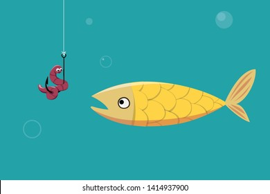 Fish is looking to hook with a worm