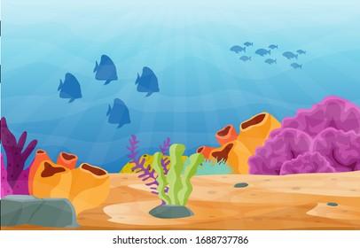 Fish Marine Animals Coral Reef Underwater Sea Ocean Illustration