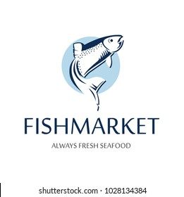 Fish market logo. Retro badge of blue silhouette of salmon. Vintage premium label for seafood restaurant.