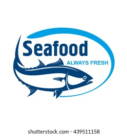 Fish market symbol for label design with retro stylized dark blue icon of wild alaskan salmon encircled by oval frame with text Seafood and Always Fresh
