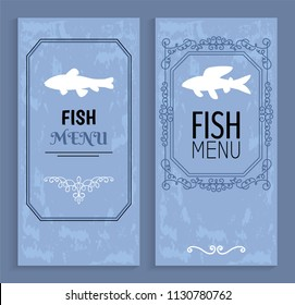 Fish menu colorful cards with white silhouettes isolated on blue background vector illustration, decorated by ornaments and frames cover, seafood list