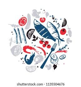 Fish menu design. Fresh farm products. Bon appetite. Sea food