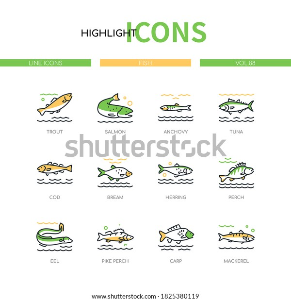 Fish - modern line design style icons set on white background. A collection of animals. Trout, salmon, anchovy, tuna, cod, bream, herring, eel, pike perch, carp, mackerel species images