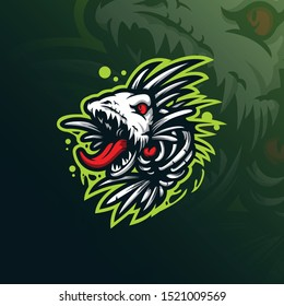 fish monster mascot logo design vector with modern illustration concept style for badge, emblem and tshirt printing. angry fish illustration.