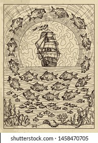 Fish. Mystic concept for Lenormand oracle tarot card. Vector engraved illustration. Fantasy line art drawing and tattoo sketch. Gothic, occult and esoteric background