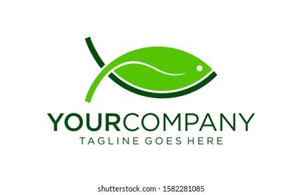 Fish and natural leaf logo design concept for inspiration