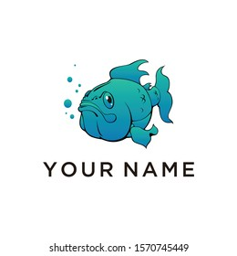 Fish Nemo Koi blue Illustration logo design