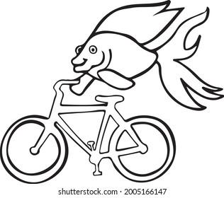 Fish on a Bike Vector Art