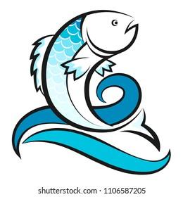 Fish on blue waves design