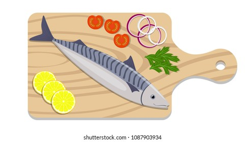 Fish on a cutting board with lemon slices, onion, tomato, parsley herb. Cooking of mackerel. Vector flat illustration