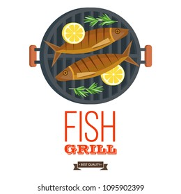 Fish on the grill. Appetizing trout with lemon on the grill. Vector illustration, emblem. Isolated on white background.