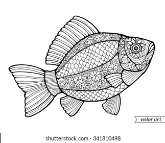Fish, ornamental graphic fish, floral line pattern. Vector. Zentangle. Coloring book page for adult. Hand drawn artwork. Bohemia concept for restaurant menu card, branding, logo label. Black and white
