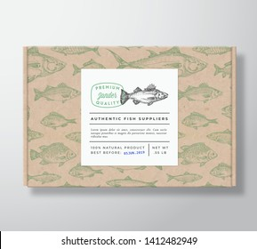 Fish Pattern Realistic Cardboard Box with Banner. Abstract Vector Packaging Design or Label. Modern Typography, Hand Drawn Zander or Pikeperch Silhouette. Craft Paper Background Layout. Isolated.