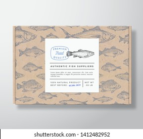 Fish Pattern Realistic Cardboard Box with Banner. Abstract Vector Packaging Design or Label. Modern Typography, Hand Drawn Trout Silhouette. Craft Paper Background Layout. Isolated.
