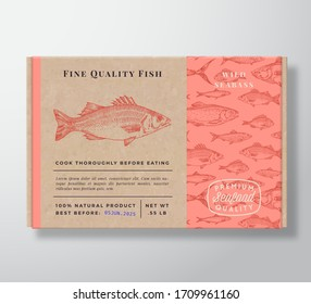 Fish Pattern Realistic Cardboard Container. Abstract Vector Seafood Packaging Design or Label. Modern Typography, Hand Drawn Seabass Silhouette. Craft Paper Box Pattern Background Layout. Isolated.