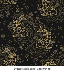 Fish pattern. Vector line seamless koi fish backround