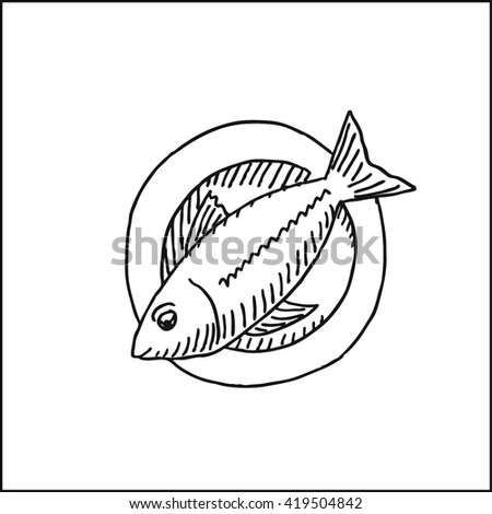 Fish Plate Dish Vector Hand Drawn Stock Vector Royalty Free