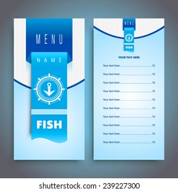 Fish restaurant menu design with seafood, cmyk profile